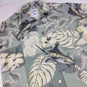 Guy Harvey Bluewater Wear Fishing Hawaiian Shirt